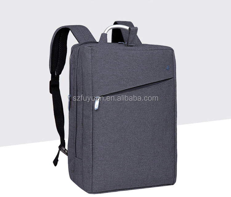 Wholesale hot shot big capacity grey laptop backpack with metal handle