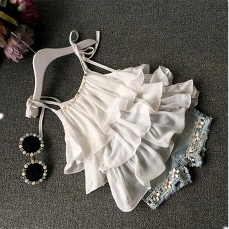 Summer New Korean Chiffon Sling Ruffle Beaded Top + Fashion Denim Shorts Suit Children's Cotton Flowers Ruffle Shorts Sets