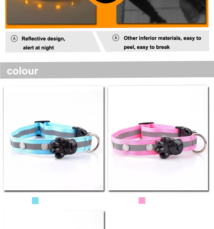 LED pet dog collar easy to clean Waterproof PP hunting dog collar