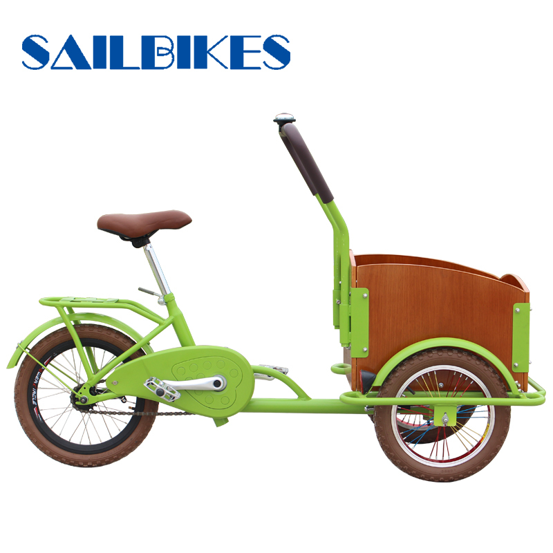 cheap price three wheels cargo bicycle with green frame and white cargo