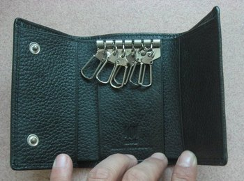 trifold leather key wallet