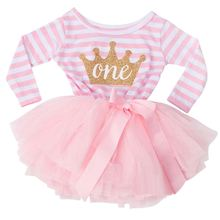 Little Princess Girl Dress Stripe Dress For Baby Kids First Birthday Party Dress Long Sleeve Girls Clothes Infant Clothing