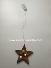 Wood craft gift 15*1.3*60cm Star Led light hanging decoration