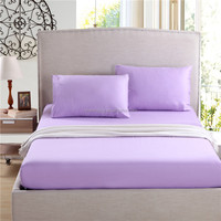 premium twin size 100% cotton purple solid color bedding set knitted jersey fitted bed sheet