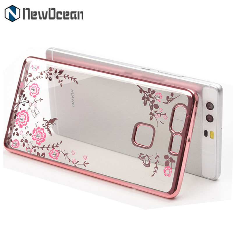 Fashion Soft silicone crystal mobile cover lady diamond flower phone case for Huawei P10 selfie