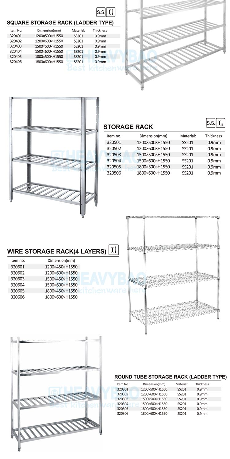 Heavybao Quick Lead Knock-down Structure adjustable steel shelving kitchen spices dish towel storage rack shelves