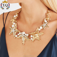 NYQ-00771 factory hotcharm 2017 new fashion silver/gold aolly sea beach starfish shape necklace imitation pearl jewelry for lady