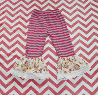 Wholesale children clothing usa girls leggings girl ruffled pants girls boutique clothing with lace
