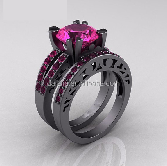 free sample 2015 cheap factory cheap wholesale pink sapphire black gold diamond ring