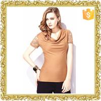 Custom Design Fashion Cotton Short Sleeve Ladies Lace T Shirt Woman Shirt