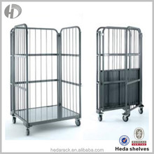 Customerized heavy duty warehouse storage cage with wheels