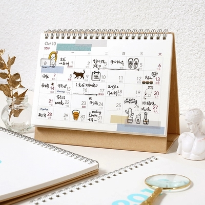 2019 new year craft cover 12 month desk calendar