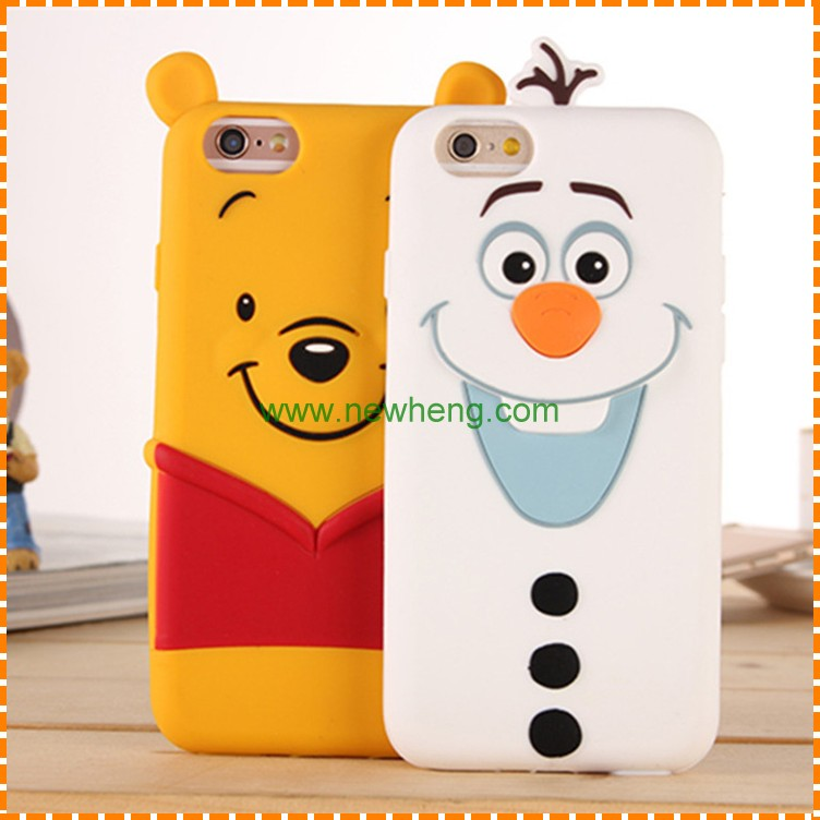 University silicone phone case,3D cartoon silicone phone case,animal silicone phone case for Iphone 7 6 5