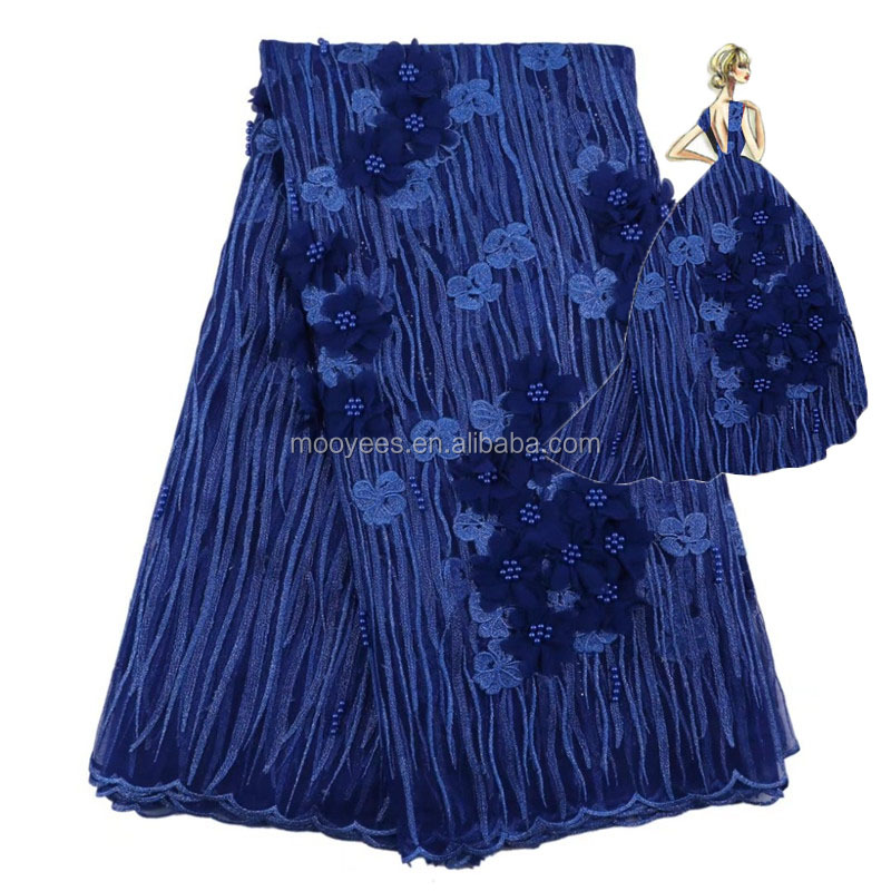 100% polyester african french lace fabric 3d fashionable royal blue in stock item