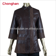 Chonghan Pakistan OEM Wholesale Customize Summer Brown Faux Leather Jacket For Womens