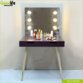 Wooden design  fancy dressing table with lights around mirror