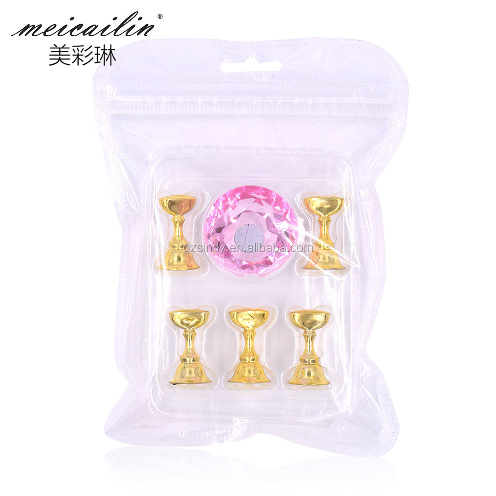 Magnetic False Nail Practice Training Display Stand Holder Crystal Alloy Holders