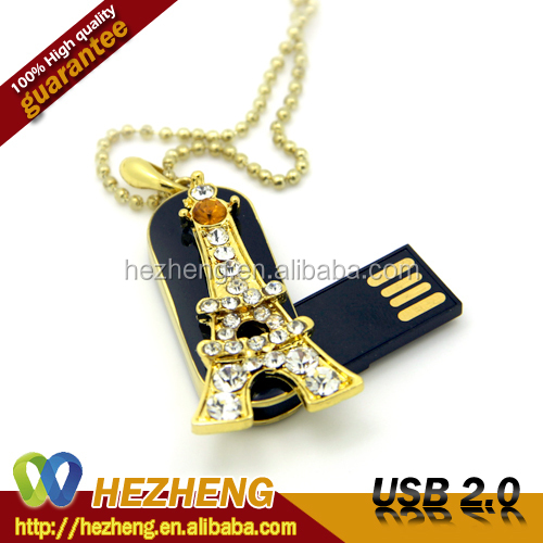 Newest Jewelry Swivel 2GB USB Flash Pen Drive with Necklace