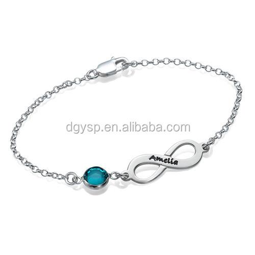 Inspire stainless steel jewelry Infinity Birthstone Bracelet custom engraved bracelet