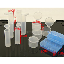 Small round plastic clear ice storage test tube with lid