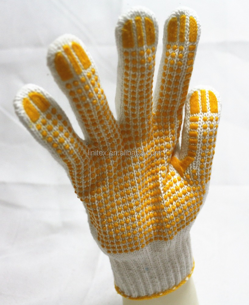 10 gauge polyester cotton yarn PU palm dotted rubber antiskid abrasion resistant breathable labor protection safe hand gloves