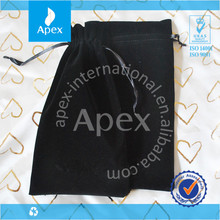 black brushed drawstring pouch