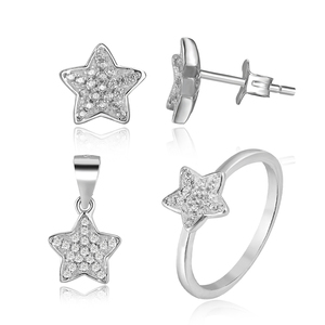 Fashionable 925 sterling silver five pointed star shape jewelry sets