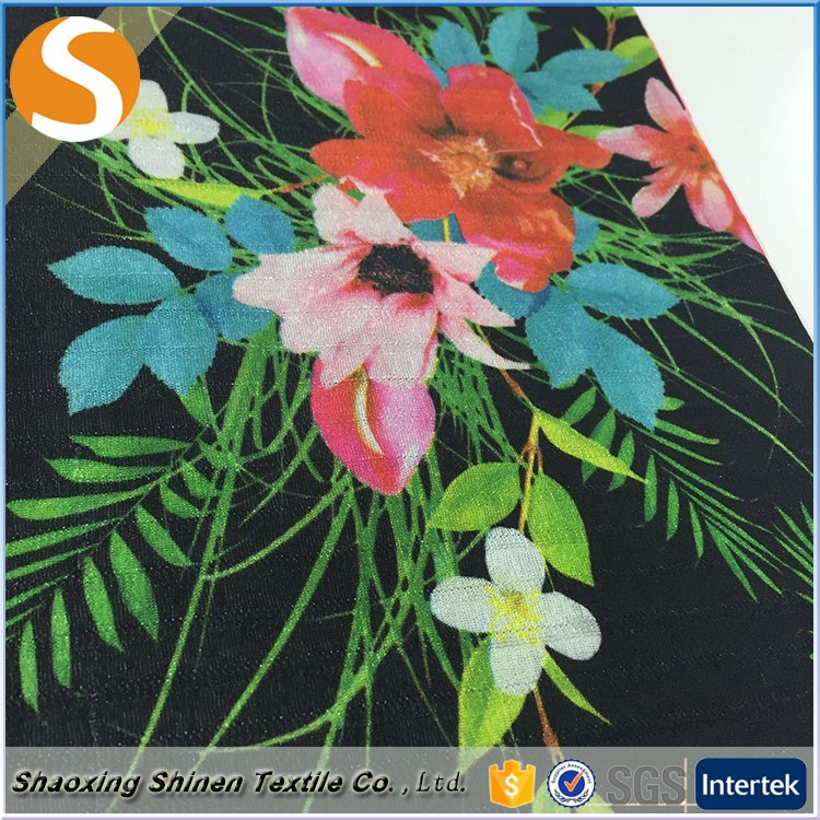 Flower pattern poly span paper printing jacquard knitting fabric textile