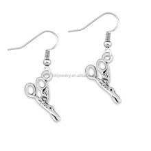 Latest earrings design of antique soild silver plated scissors