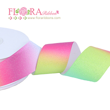 Factory new design rainbow printed Christmas celebrate glitter ribbon