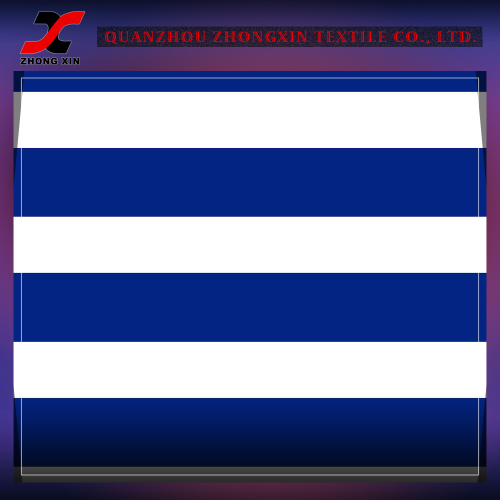 warp knitted high stretch blue and white striped nylon spandex fabric for active sportswear by screen printing