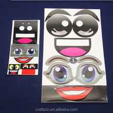 Fake eye stickers and lip stickers for cartoon characters