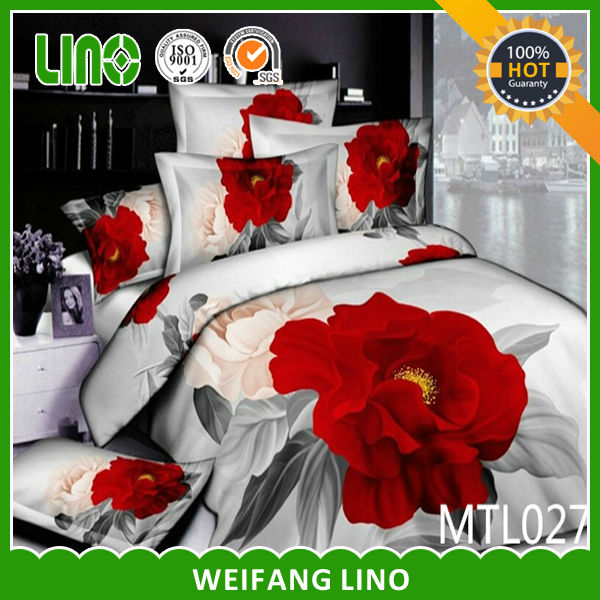 3d reactive printed bedding set,big red rose,wedding bed set