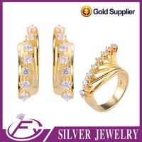 925 sterling silver aaa cz stone plated brazilian gold jewelry wholesale