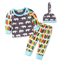 2107 Autumn section bursts boy elephant cotton suit cute 2 sets newborn baby clothing Selling floral hooded sweater