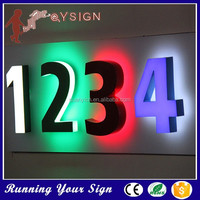 Custom size high brightness wall LED number sign indoor