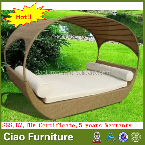 New design lounge furniture garden outdoor sun lounger with canopy