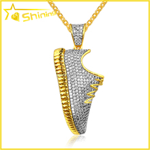 10K Yellow Gold Mens Diamond Sneaker Sport Shoe Pendant