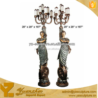 high quality antique bronze statue girl lamp for indoor decoration