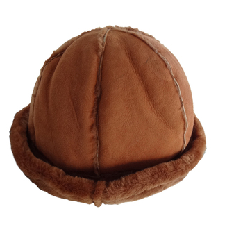 Winter Mouton Sheepskin Hats Caps with 6 Panel Chocolate Camel Color