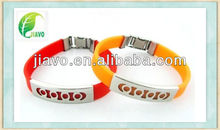 Charm silicone negative ion band with metal clasp