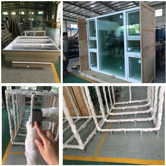European style casement windows, aluminum thermal break casement window with CE certification
