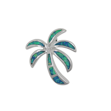 Unique design 925 silver jewelry Handmade Jewelry Coconut Palm Tree charm Opal Pendant for Necklace Making