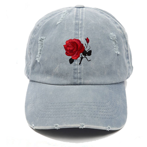 New Fashion Custom Rose Embroidery Washed Distressed Cap Dad Hat