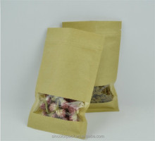 kraft paper foil pouches with clear see through window large paper bags wholesale
