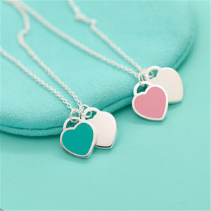 Fashion 925 sterling silver necklace heart-shaped beaded necklace enamel silver jewelry for women