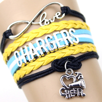 Infinity Love San Diego state Chargers Football Team Bracelet yellow white blue Customize Sport friendship Bracelet