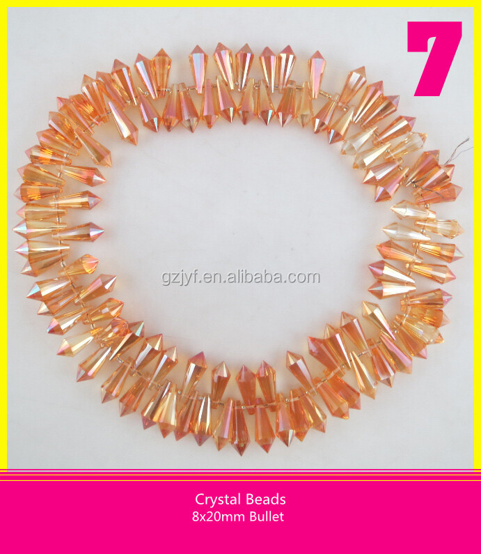8*20 mm Sew On Glass Crystal Beads Bullet Shape Beads
