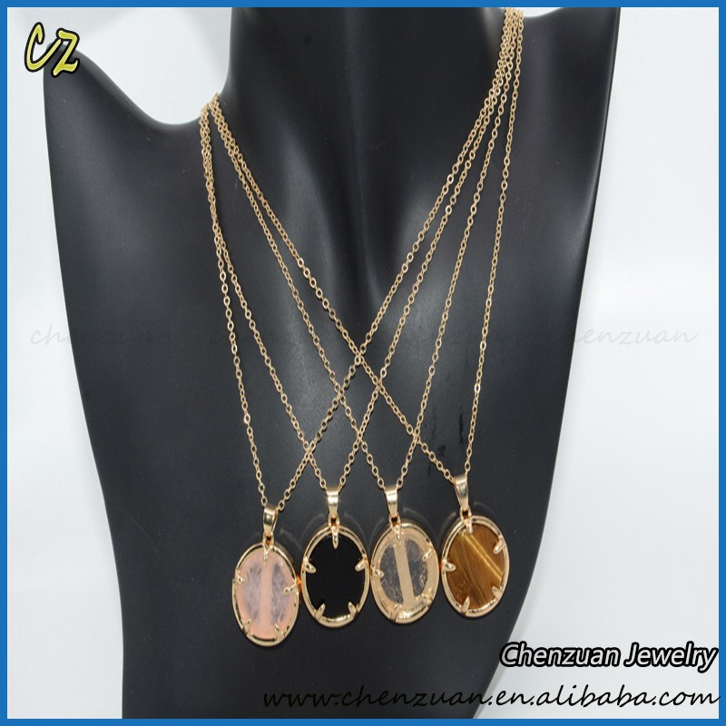 Lastest popular natural ruby stone necklace designs round stone pendant necklace