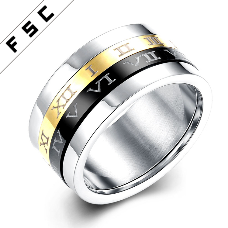 Men White Gold Stainless Steel Rotating Gear Casual Rings